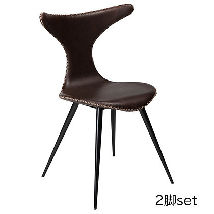 "DAN FORM ""DOLPHIN Chair"" Vin. cocoa art. leather w/round black legs (2脚set)"