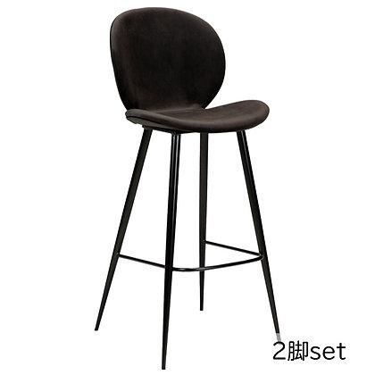 "DAN FORM ""CLOUD Bar Stool"" Meteorite black velvet w/round black legs (2脚set)"
