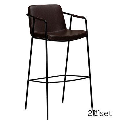 "DAN FORM ""BOTO Bar Stool"" Vin. cocoa art. leather w/black legs (2脚set)"