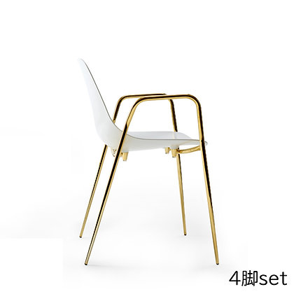 """OPINION CIATTI """"Mammamia"""" With Armrests white/gold24k (4脚set)"""