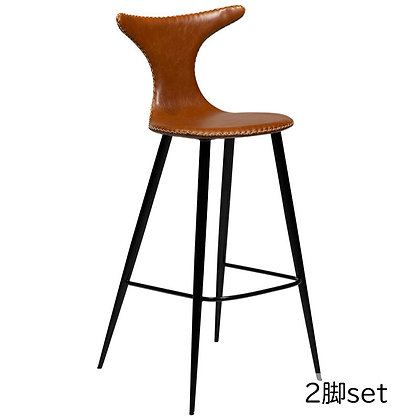 "DAN FORM ""DOLPHIN Bar Stool"" Vin.light brown art.leather round black legs(2脚set)"