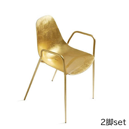 """OPINION CIATTI """"Mammamia"""" With Armrests gold leaf (2脚set)"""