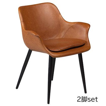 "DAN FORM ""COMBINO Armchair"" Vin. light brown art. leather w/black legs (2脚set)"