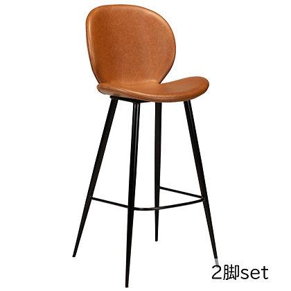 "DAN FORM ""CLOUD Bar Stool"" Vin.light brown leather w/round black leg (2脚set)"