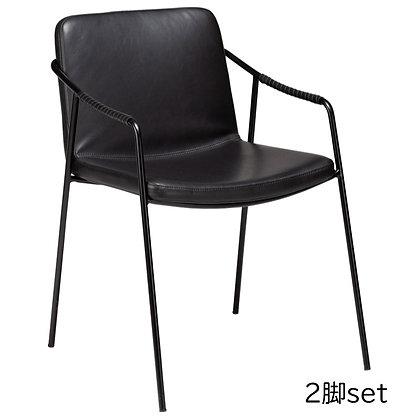 "DAN FORM ""BOTO Armchair"" Vin. black art. leather w/black legs (2脚set)"