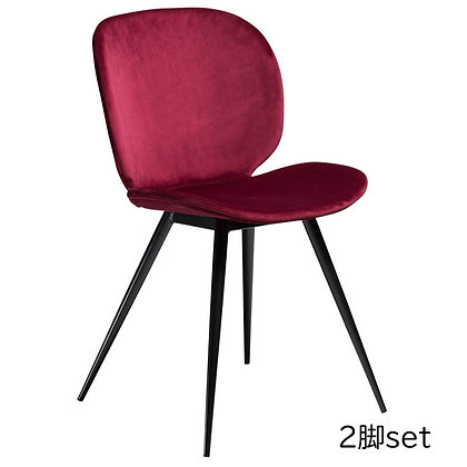 "DAN FORM ""CLOUD Chair"" Deep ruby velvet w/round black legs (2脚set)"