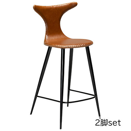 "DAN FORM ""DOLPHIN Counter Stool"" Vin.light brown leather round black legs(2脚set)"