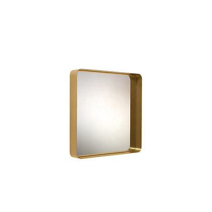 """ClassiCon """"Cypris Mirror"""" square natural brass/crystal glass"""