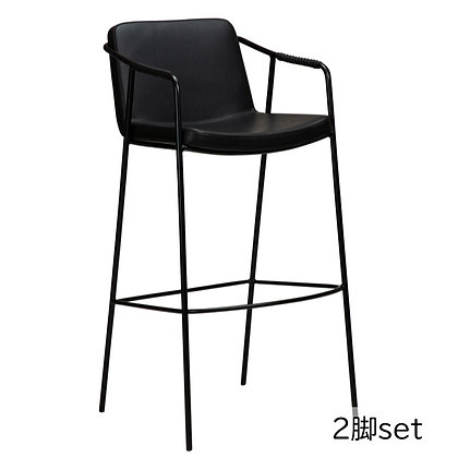 "DAN FORM ""BOTO Bar Stool"" Vin. black art. leather w/black legs (2脚set)"