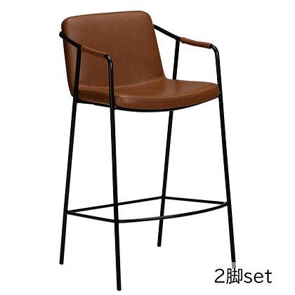 "DAN FORM ""BOTO Counter Stool"" Vin. light brown art. leather w/black legs (2脚set)"