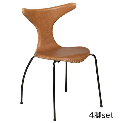 "DAN FORM ""DOLPHIN Chair"" Light brown leather w/black legs (4脚set)"