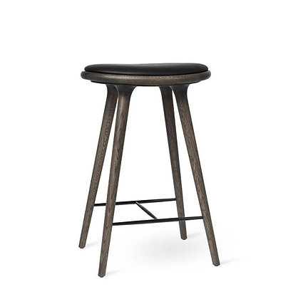 "mater ""High Stool"" Sirka Grey Stain Oak Black leather seat 69cm"