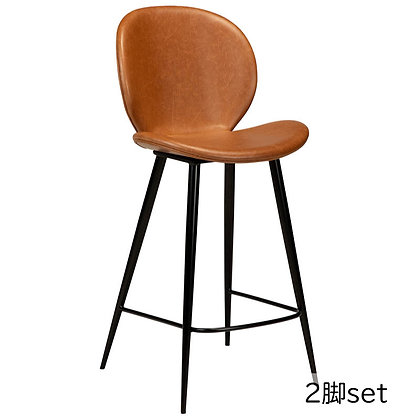 "DAN FORM ""CLOUD Counter Stool"" Vin.light brown leather round black legs(2脚set)"