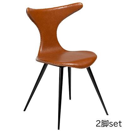 "DAN FORM ""DOLPHIN Chair"" Vin. light brown art. leather w/round black legs(2脚set)"