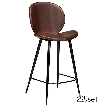 "DAN FORM ""CLOUD Counter Stool"" Vin. cocoa art. leather w/round black legs(2脚set)"