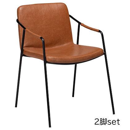 "DAN FORM ""BOTO Armchair"" Vin. light brown art. leather w/black legs (2脚set)"