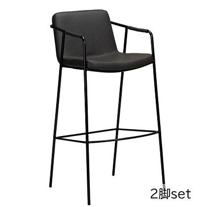 "DAN FORM ""BOTO Bar Stool"" Vin. grey art. leather w/black legs (2脚set)"