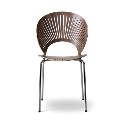 "Fredericia ""3398 TRINIDAD chair"" Walnut Lacquered chrome"