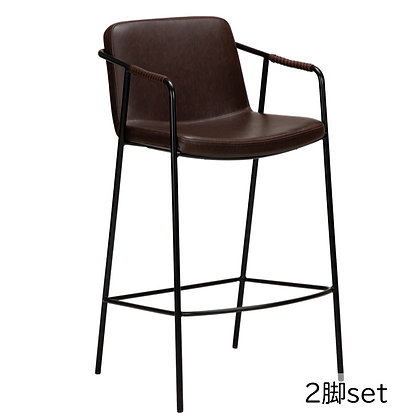 "DAN FORM ""BOTO Counter Stool"" Vin. cocoa art. leather w/black legs (2脚set)"