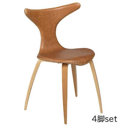 "DAN FORM ""DOLPHIN Chair"" Light brown leather w/oak legs (4脚set)"