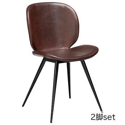 "DAN FORM ""CLOUD Chair"" Vin. cocoa art. leather w/round black legs (2脚set)"
