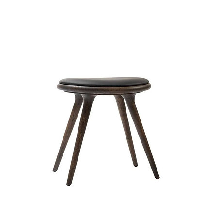 "mater ""Low Stool"" Sirka Grey Stain Oak Black leather seat 47cm"