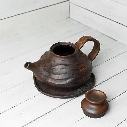Чайник и тарелка глиняные