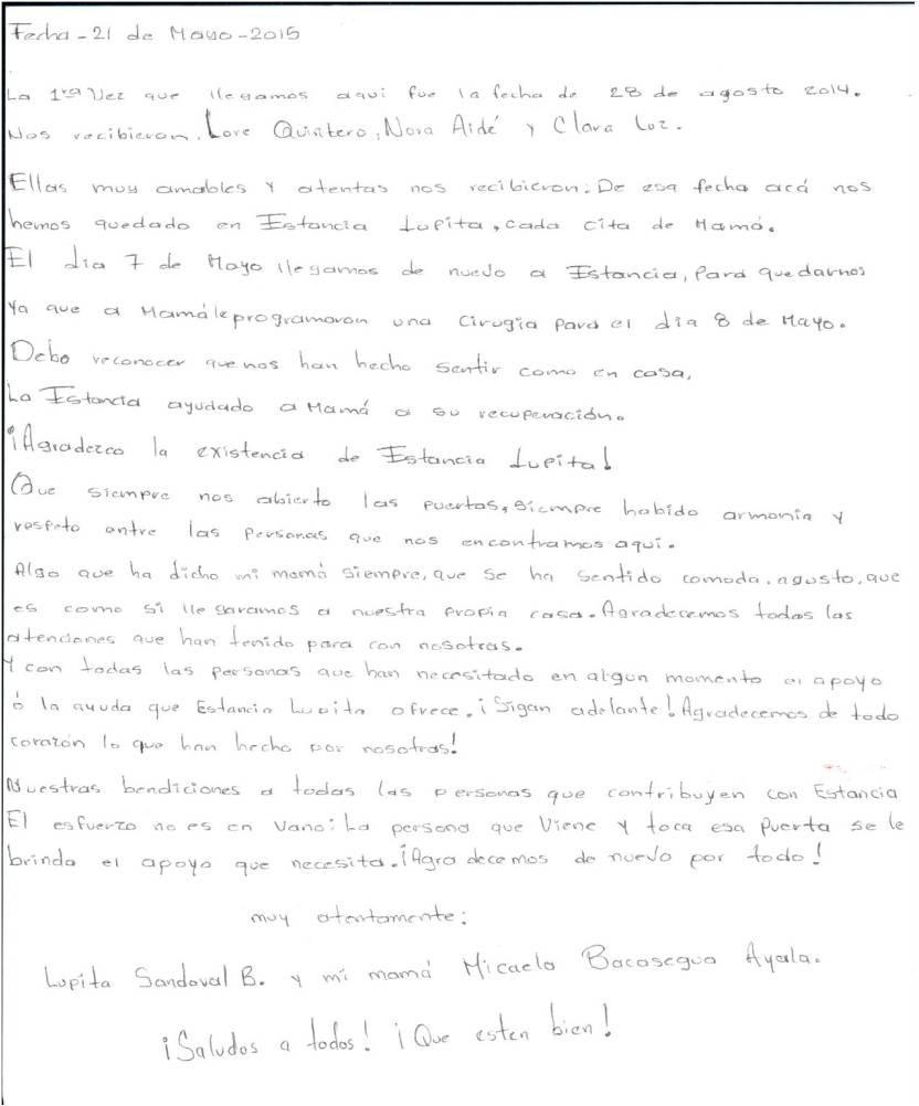 Documento testimonial de servicio de Estancia Lupita