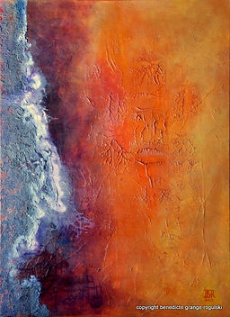 Yellowstone III tableau abstrait de Benedicte Grange Rogulski