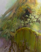 Tronc vert, racines, mousses et lichens