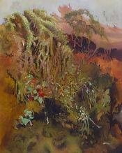 Végétation en cascade, mousses et lichens, fleurs rouges