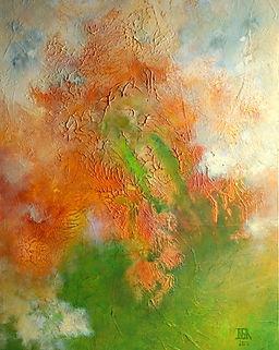 Yellowstone I tableau abstrait de Benedicte Grange Rogulski