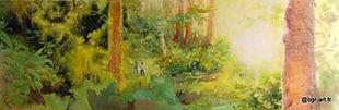 Forêt dense, végétation touffue verte et jaune, arbres rouges