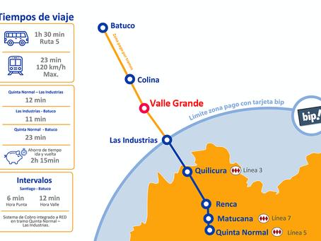 Aprobación del Metro Tren Santiago-Batuco incluye una estación en Valle Grande