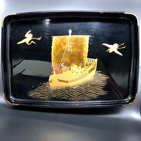 Very large Black tray with gold decoration