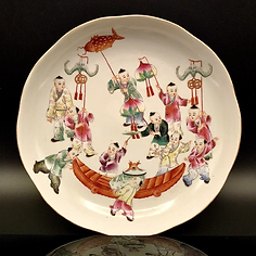 Republic Period famille rose plate with children.