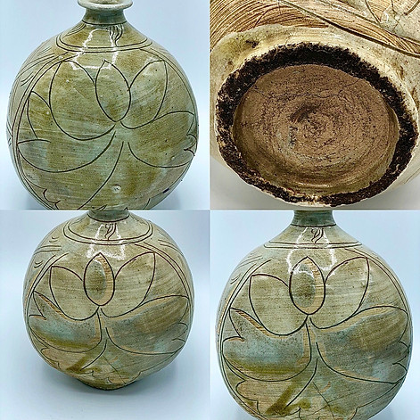 Flask-shaped bottle decorated with peonies