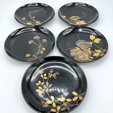 Wooden Urushi Serving Plates Gold Makie set for Tea Ceremony