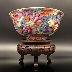 Porcelain, Famille Rose Mille Fleur Enamel Bowl
