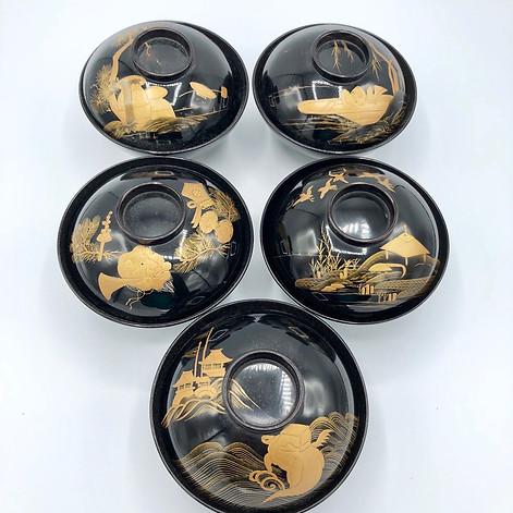 Edo Period A complete set of five Suimonowan - soup bowls