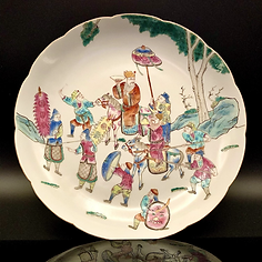 Famille rose plate with warrios