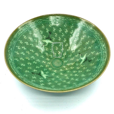 Ryosen Kiln Lee Renkyu Celdon bowls.