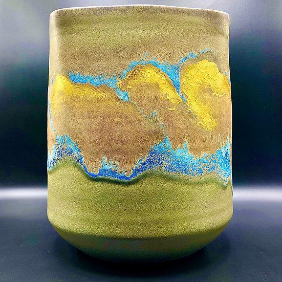 Taniguchi Ryozo  Japanese Vase with gold and blue