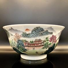 Famille Rose Landscape Bowl.