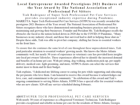 Local Pet Sitter Awarded Presigious 2021 Business of the Year Award