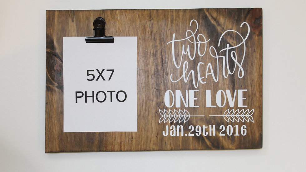 5x7 picture frame two hearts