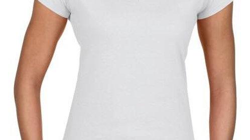 ladies v-neck t-shirt with custom vinyl