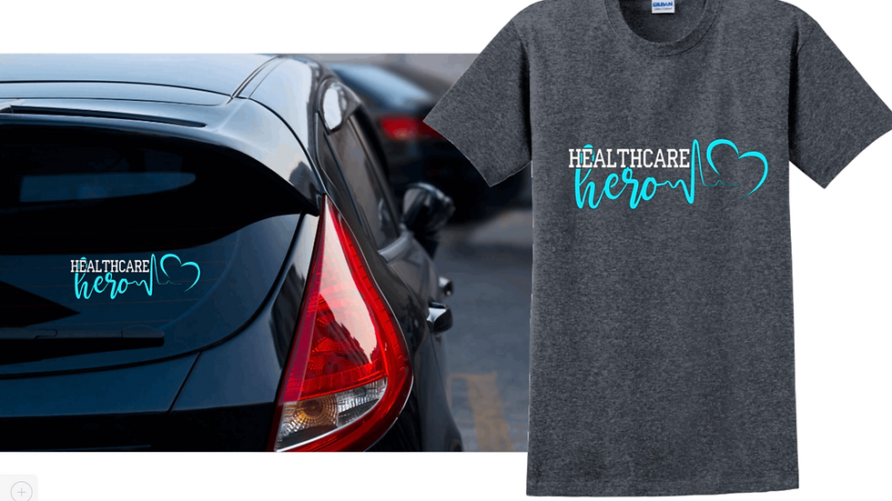 Healthcare hero tee & decal package