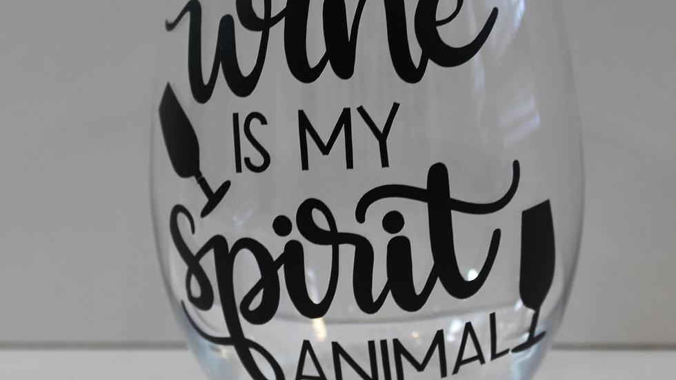 wine is my spirit animal glass