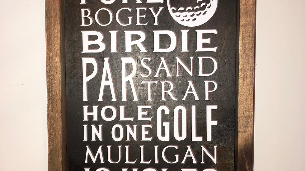 Solid wood golf sign